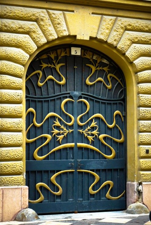 Art Nouveau door in Budapest, Hungary   JV