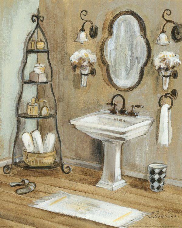 French Bath I Art Poster Print by Silvia Vassileva, 8x10