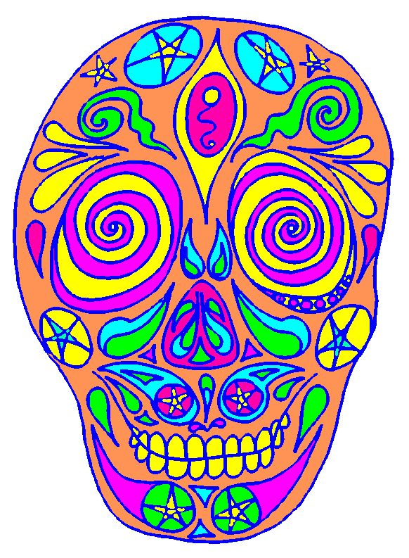 A brightly colored Day of the Dead patterned skull (Calaca or Calaveras) based on Mexican and Aztec art and crafts. Free, printable Halloween Craft ideas: great for kids' crafts and teens art projects.