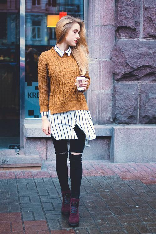 Sweater over collar shirt