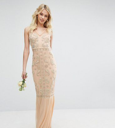 """Embellished Maxi Dress with Fishtail by Maya. """"""""Maxi dress by Maya, Sheer mesh straps and back, Sweetheart bodice, Bead embellishment to main, Fishtail hem, Zip back, Regular fit - true to size, Hand wash, 100% Polyester, Our model wears a UK 8/EU 36/US 4 and is 175cm/5'9"""" tall, Exc... #maya #dresses #gowns"""