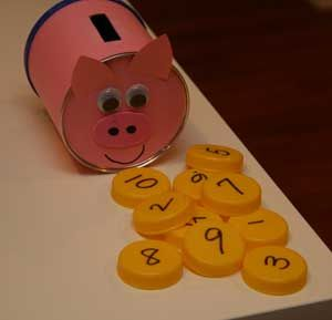 piggy bank craft with coins to count