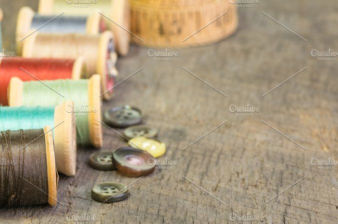 Spools of thread and buttons by Zigzag Mountain Art on @creativemarket
