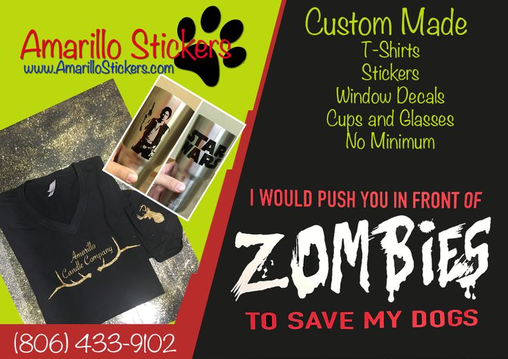 Make your business shine with custom t shirts and drinkware contact amarillo stickers today