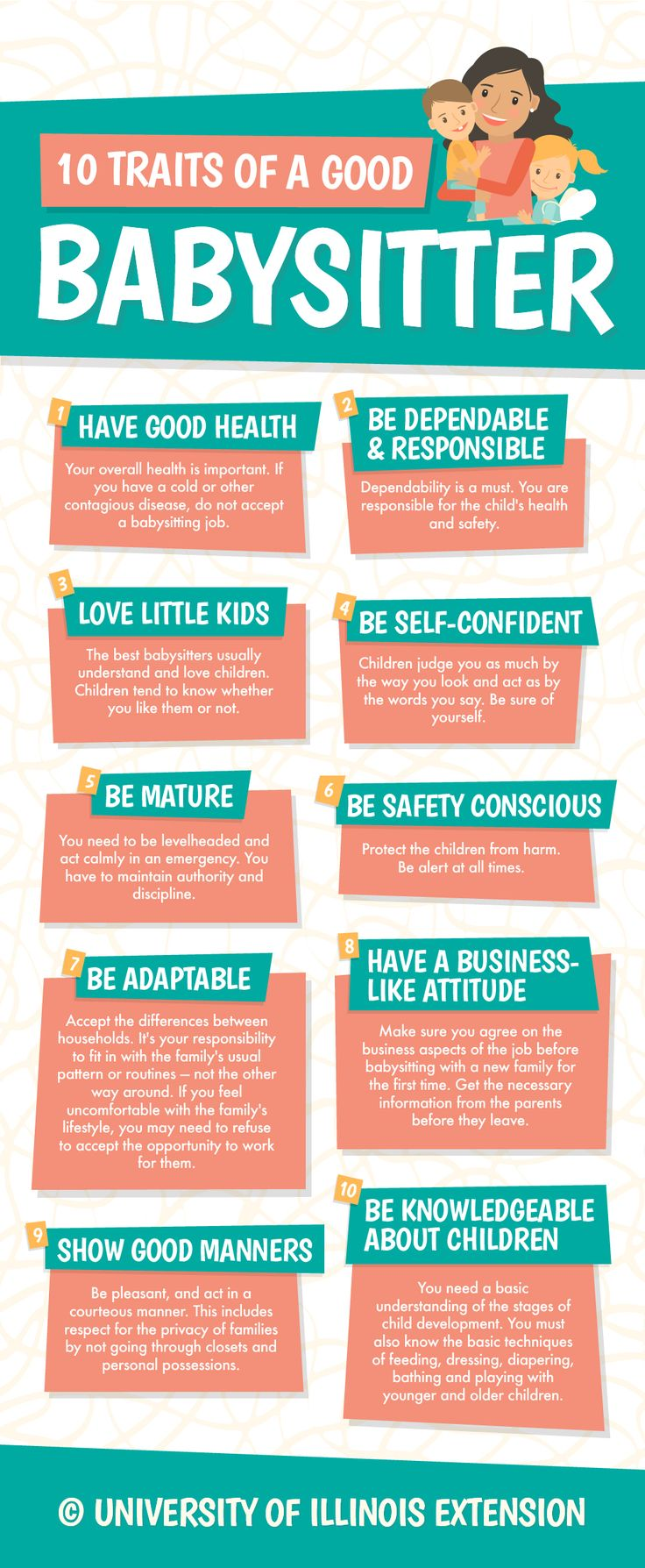 10 Traits of a Good Babysitter #infographic