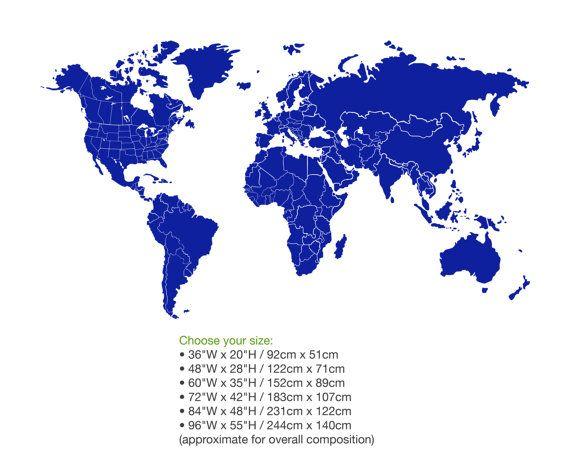 Wereld kaart muur Decal grenzen & grenzen van van Zapoart op Etsy