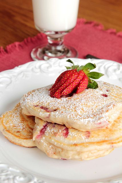 Strawberry Pancakes    1 1/2 cups all-purpose flour  1 tablespoon baking powder  Pinch of salt  1 egg  1 cup milk  1 tablespoon honey  2 tablespoons butter, melted  2 cups sliced strawberries