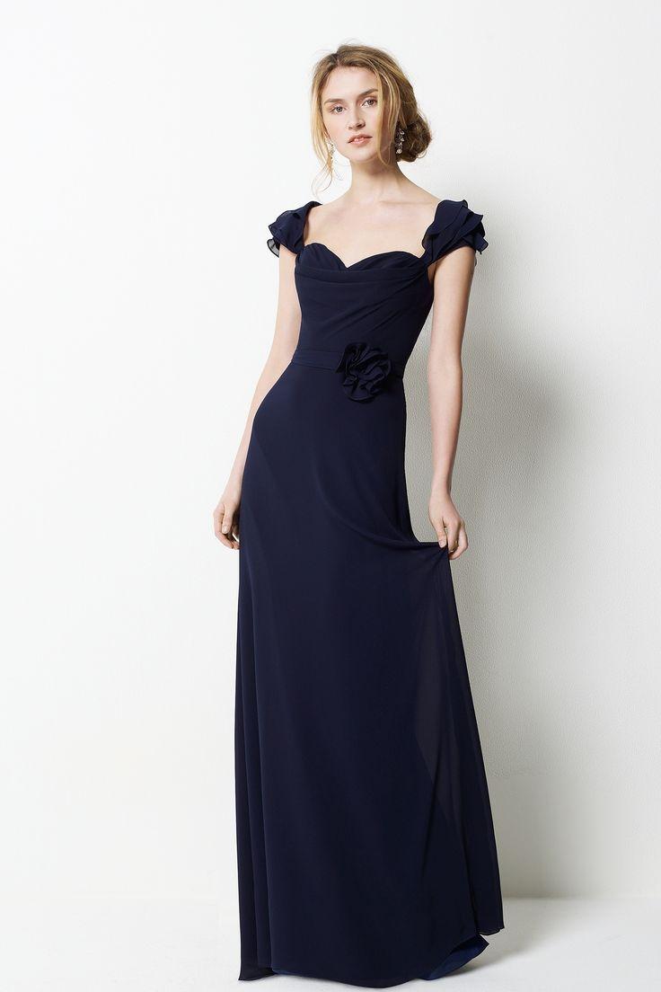 Modest with cap sleeve floor length dark dress