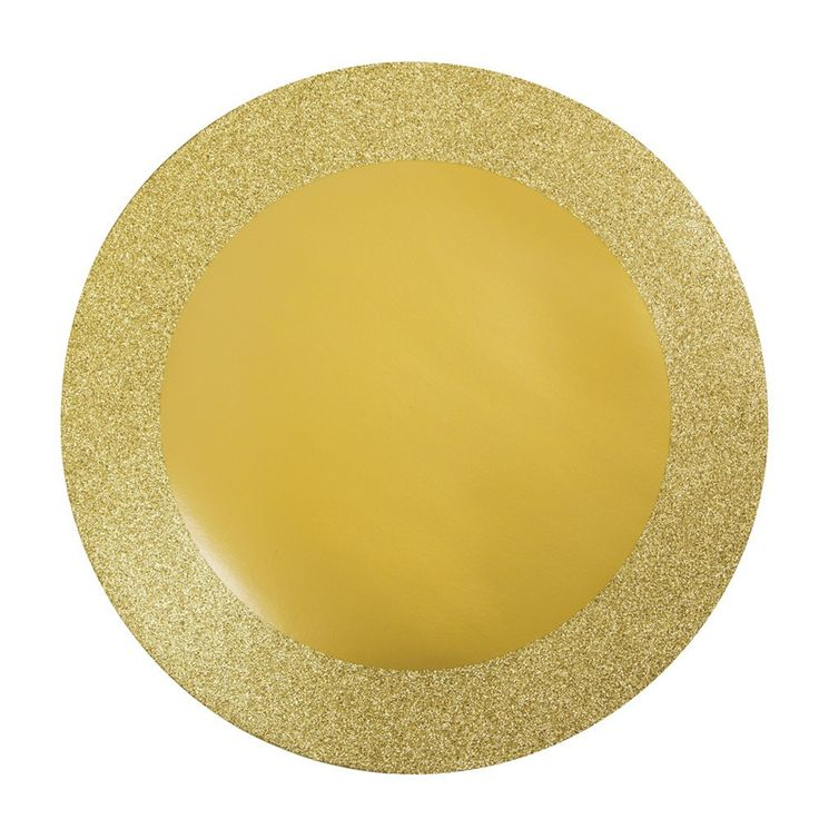 Glitz Gold 14 inch Round Placemats with Glitter Border/Case of 96