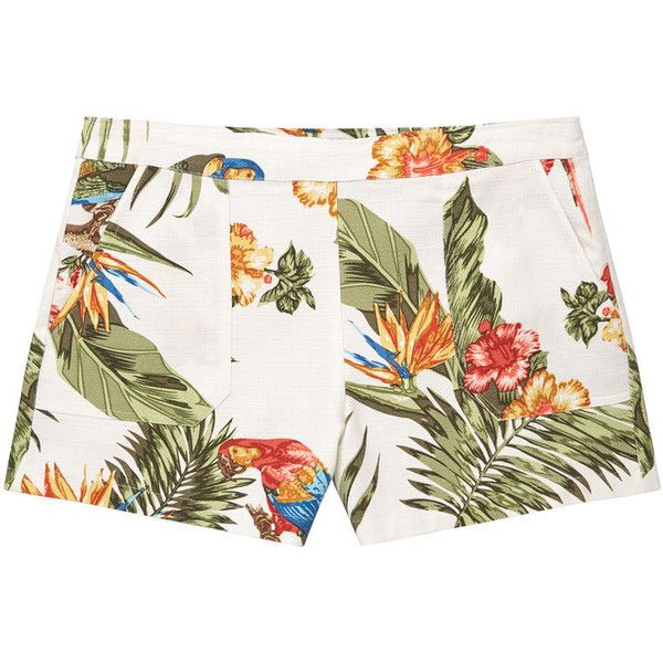 Tropical Print Shorts ($34) ❤ liked on Polyvore featuring shorts, side zip shorts, tropical print shorts and mango shorts