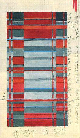 Gunta Stölzl ~ Bauhaus Dessau 1925-1931, fabrics textile design, 40x21.5 cm, Bauhaus Archiv, Berlin.