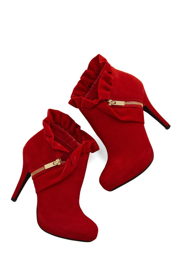 You Haute to Know Heel in Scarlet. Accessorize with shoes as posh as your trend-setting ensembles by slipping into these red, heeled booties! #red #wedding #modcloth https://www.pinterest.com/lahana/shoes-zapatos-chaussures-schuhe-鞋-schoenen-oбувь-ज/