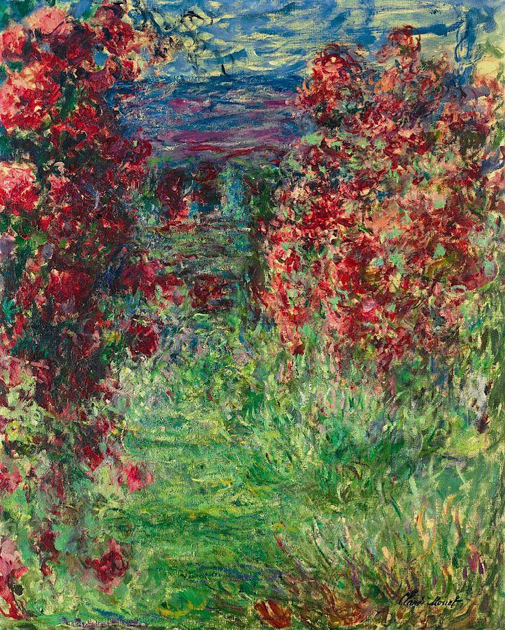 وهذه اللوحة في أواخر أعمال مونت ( ١٨٤٠ - ١٩٢٦ ) تجد فيها بعض التفاصيل لم تكن قائمة في أوائل أعماله !! وهي كانت في عام ١٩٢٥ Claude Monet (1840-1926) La maison dans les roses 1925