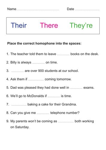 Homophones - Their, there, they're