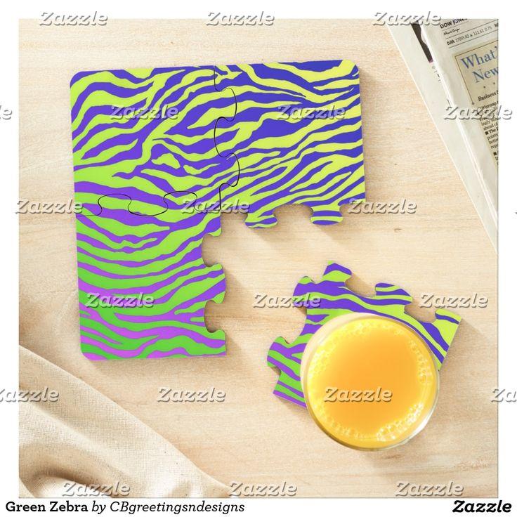 Green Zebra Puzzle Coaster