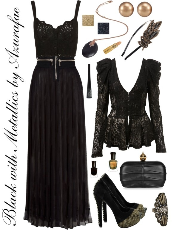 Black with Metallics, created by azurafae on Polyvore