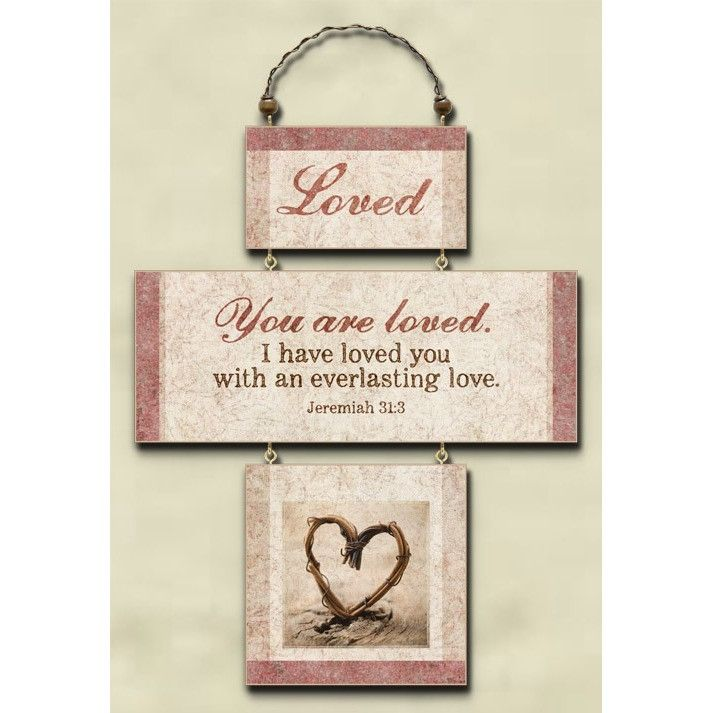 Wood Tri-Fold Plaque With Jeremiah 31:3 Message 'You Are Loved'