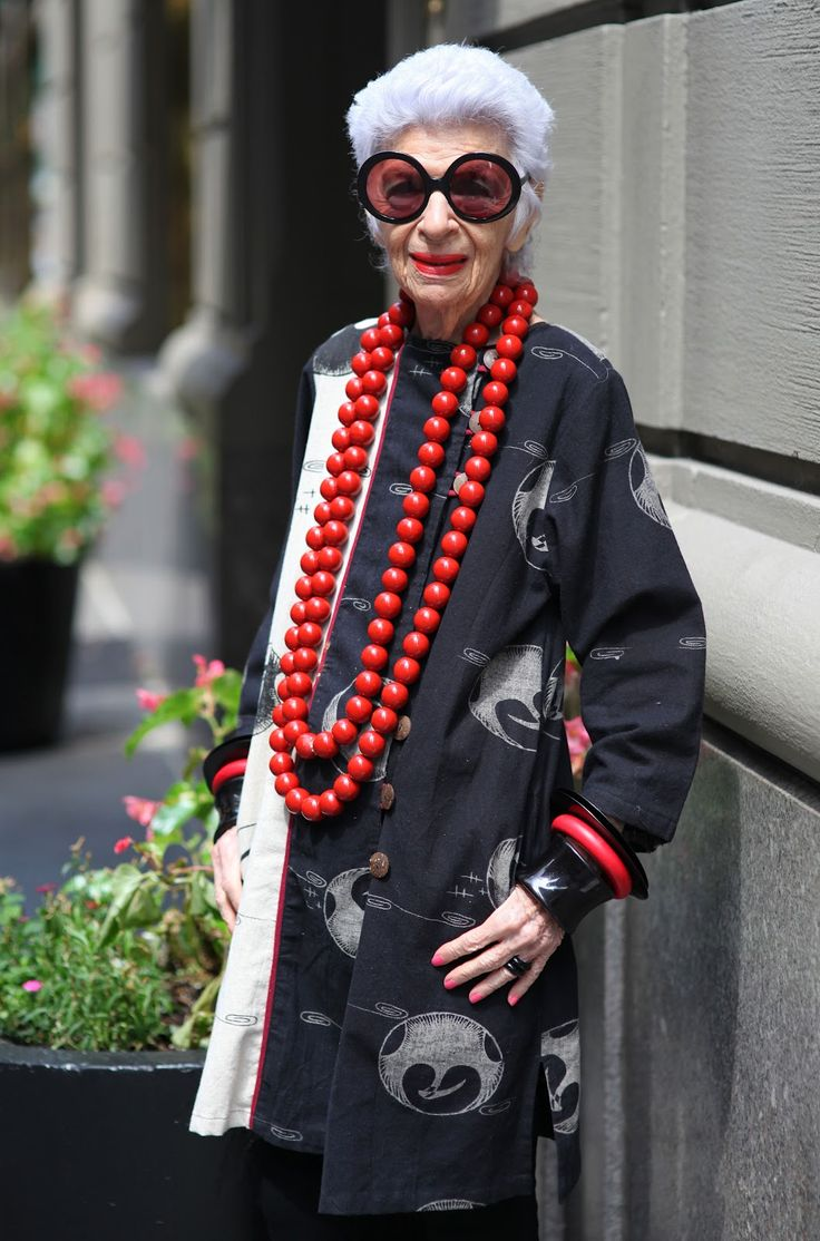 I adore Iris.  What a fabulous woman.  http://advancedstyle.blogspot.com.au/2012/08/the-one-and-only-iris-apfel.html