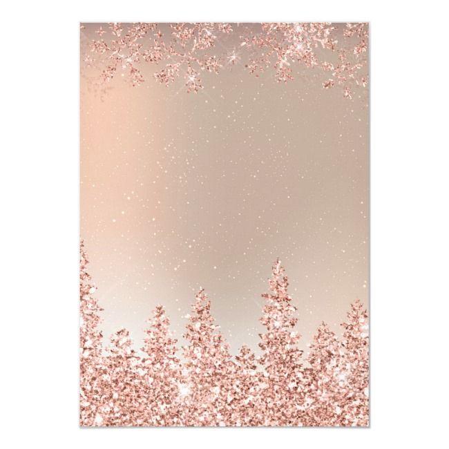 Rose Gold Snow Pine Metallic Corporate Christmas Invitation Zazzle Com Gold Christmas Wallpaper Rose Gold Backgrounds Rose Gold Invitations