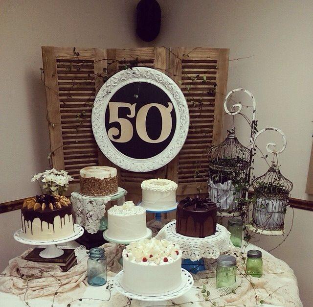 Ideas To Celebrate Wedding Anniversary: 50th Wedding Anniversary Cake Table Display