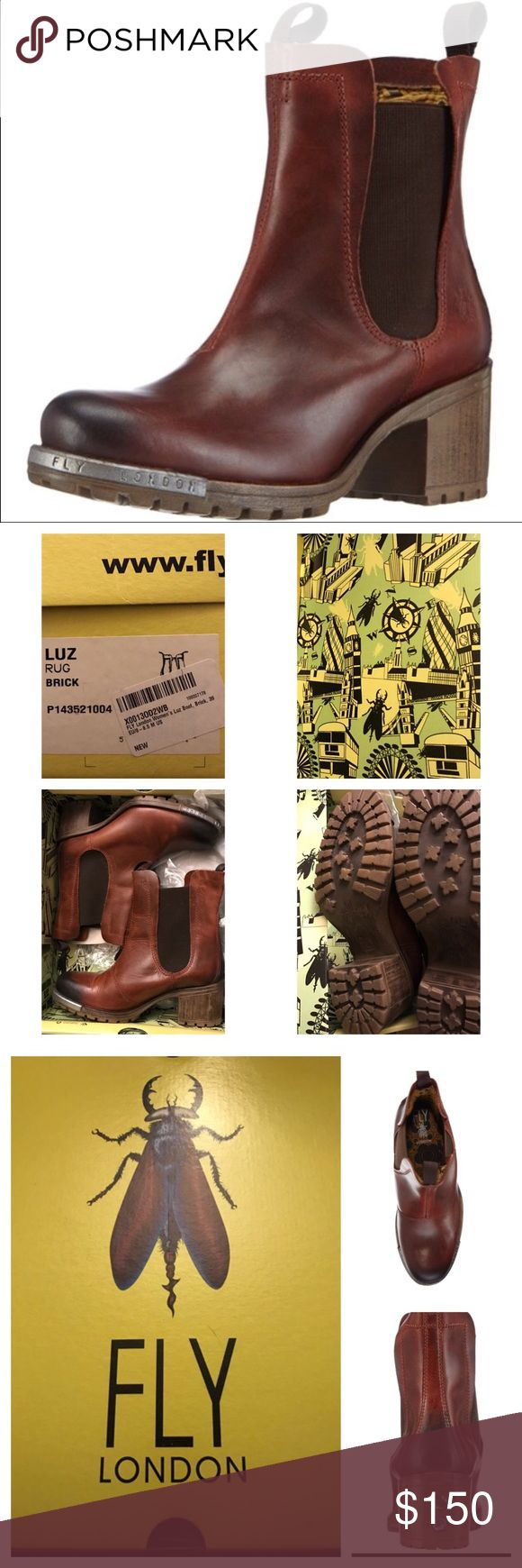 Fly London Luz Boots in Brick 39 Fly London Luz Rug Boots in Brick (Dark reddish-brown) size 39 or US 8-8.5. NEW IN THE BOX! Fly London Shoes
