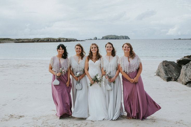 Bridesmaids in Biba from House of Fraser Dresses - Maureen Du Preez Photography | Essense of Australia Zita Gown | Rustic Marquee Wedding on Bosta Beach, Great Bernera Island, Outer Hebrides of Scotland | Biba House of Fraser Bridesmaid Dresses