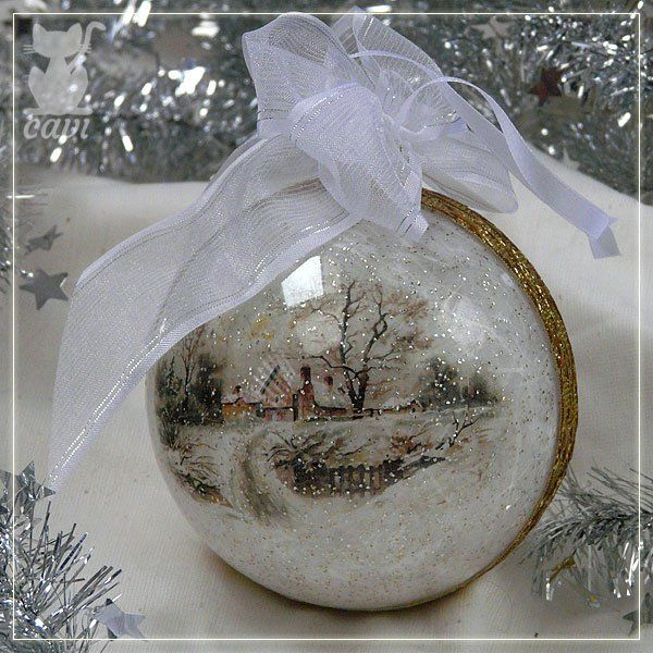 bombka akrylowa z zimowymi motywami z papieru ryżowego