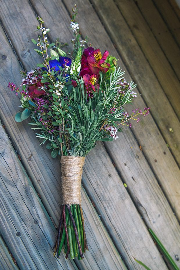 Use herbs in both bridal and bridesmaids....rosemary, lavender, baby's breath, maybe eucyalyptus. Feel free to decide which herby greenery would fit best. Maybe just a bit baby's breath for accent.