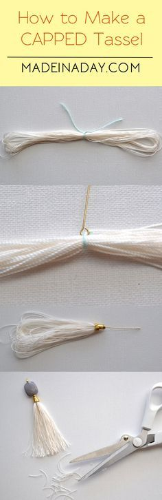 How to Make a Capped Tassel for Tassel Necklace madeinaday.com