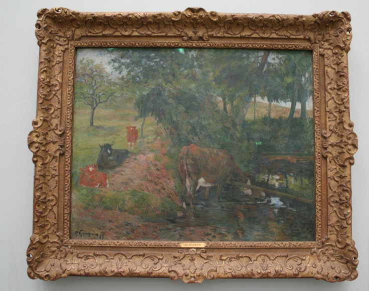 """Paul Gaugin, """"Cattle at a Watering Place"""", 1885  Gauguin was 35 when he quit his job at a bank in order to become a painter. He would have been spurred on by his friend Pissarro, who also secured a place for him in the last exhibition organised by the Impressionists as a group. This painting was one of the works he displayed there. There is not a hint of his later radicalism."""
