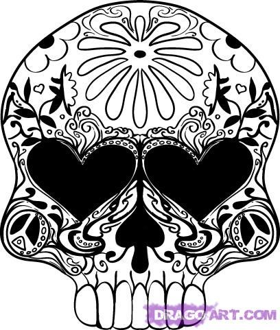 How to draw...: How To Drawings Sugar Skull, Zentangle Sugar Skull, Sugar Skull Drawings, Diy Sugar Skull, Sugar Skull Colors Pictures, Sugar Skull Design, Dead Skull, Skull Sketch, How To Drawings A Sugar Skull