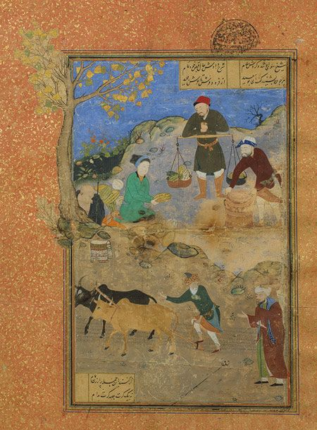 Shaikh Mihna and the Peasant: Page from a manuscript of the Mantiq al-Tayr (The Language of the Birds) of Farid al-Din cAttar, ca. 1487; Timurid  Iran (Herat)
