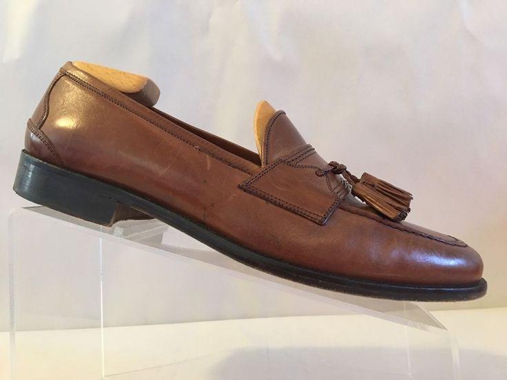 Johnston Murphy Cellini Mens 9.5W Brown Leather Moc Toe Tassel Dress Loafer Shoe #JohnstonMurphy #LoafersSlipOns #Formal