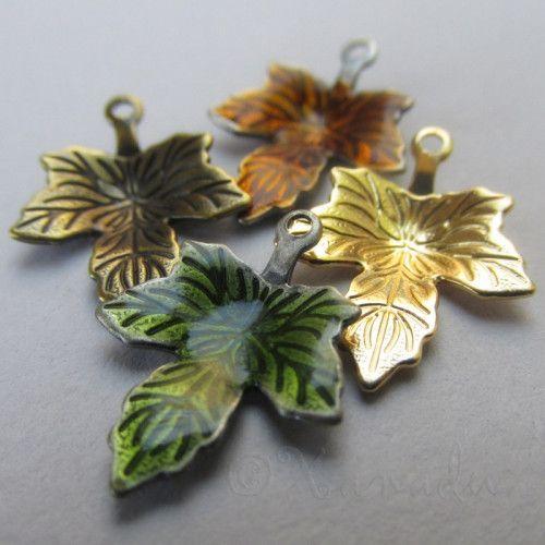 Autumn Leaves 20PCs Enamel Gold Bronze Charms Mix CM6373 - 20/40/60 via Xanadudesigns
