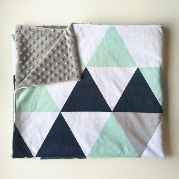 Navy mint grey triangles minky baby blanket - mint navy boy nursery - gender neutral baby boy - plush soft baby shower gift