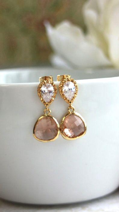 Champagne Peach Gold Plated Jewels Earrings. 925 Post. Wedding Jewelry, Bridal Earring. Blush Peach. Bridesmaids Gift. Peach Wedding Jewelry By Marolsha