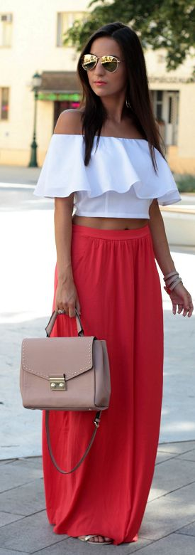 Red And White Crop Top And Maxi Skirt Outfit Idea #Style and Blog