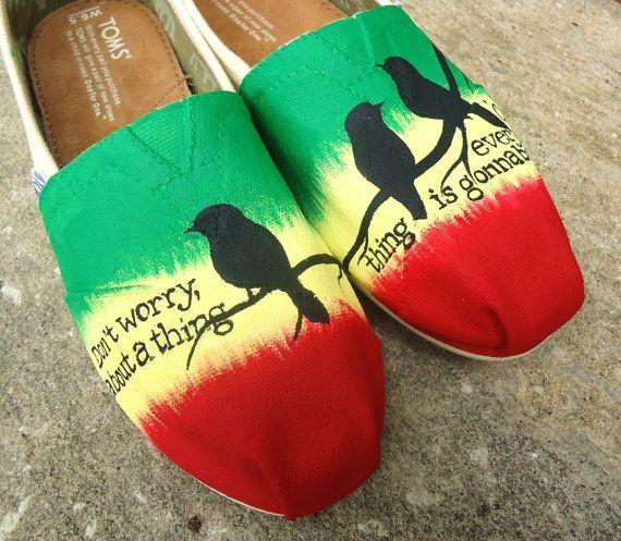 Three Little Birds custom TOMS by TheLibertyLama on Etsy, $125.00
