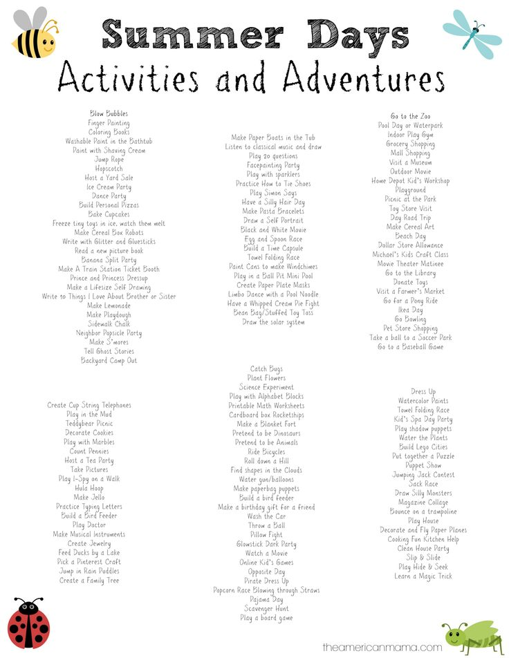 150 activities for kids on summer break summer schedule for kids free printables the. Black Bedroom Furniture Sets. Home Design Ideas
