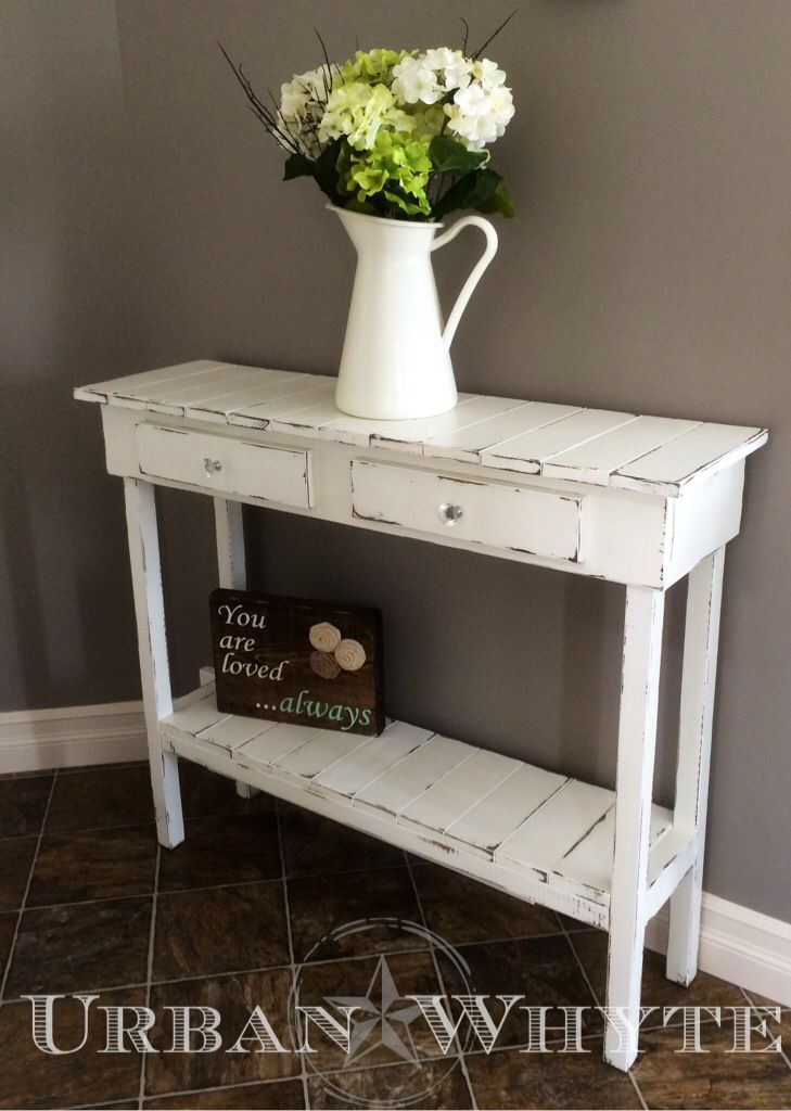 Vintage farmhouse entry table designed & built by Urban Whyte