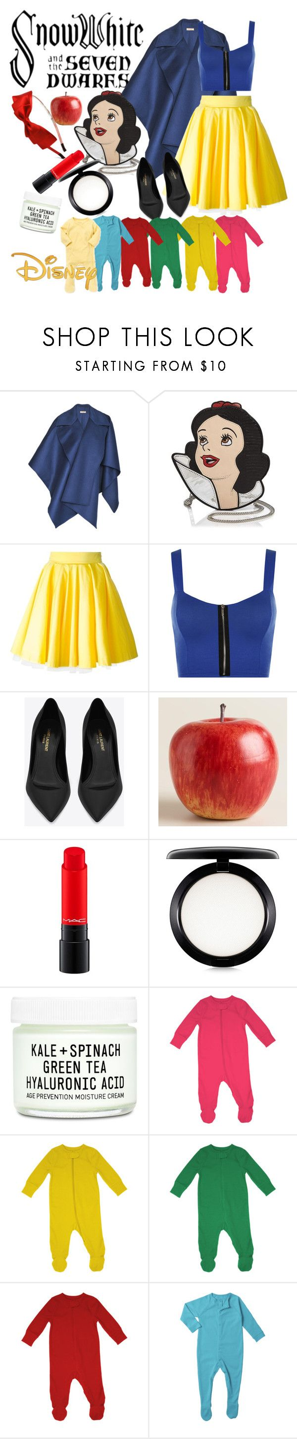 """""""SnowWhite"""" by shtrausgaus ❤ liked on Polyvore featuring Hayley Menzies, Danielle Nicole, Philipp Plein, WearAll, Yves Saint Laurent, Cost Plus World Market, MAC Cosmetics, Youth To The People and Disney"""