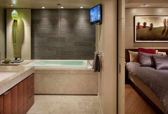 Wonderful Two Condominiums Remodeled into One Modern Luxury Living Space : Modern Luxury Condominimum Living Space With White Bathroom Wall Bathtub Lamp LED TV Wash Basin Mirror Lamp Bed Pillow Blanket Hardwood Ceramic Floor