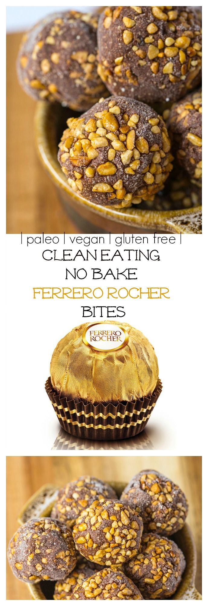 Ferrero Rocher get a healthy (no) bake-over! Just 10 minutes and you've got a healthy sinfully nutritious snack which tastes just like the original! {gluten free, vegan + paleo option}-thebigmansworld.com