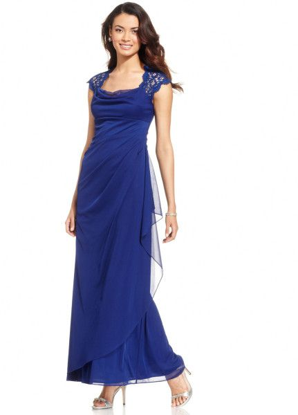 Xscape Capsleeve Glitter Lace Gown in Blue (Berry)