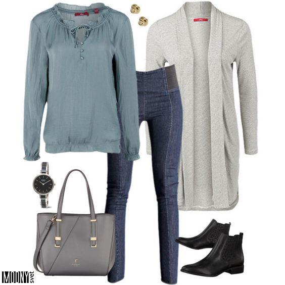 dámska-blúzka-nohavice-kardigán-šedý-kabelka-sivá-dámske-hodinky-topánky-čižmy