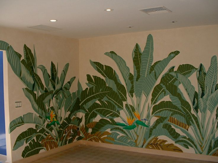 Jungle scene, artistic homes and offices, murals, bird of paradise, home decor, house painting