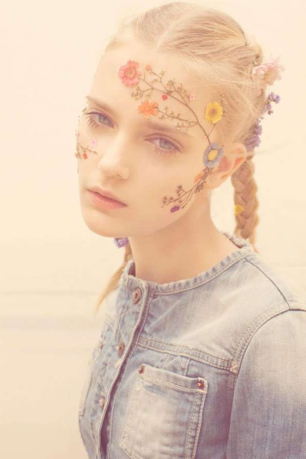 Floral face paint via Pull & Bear Spring 2011 Look Book