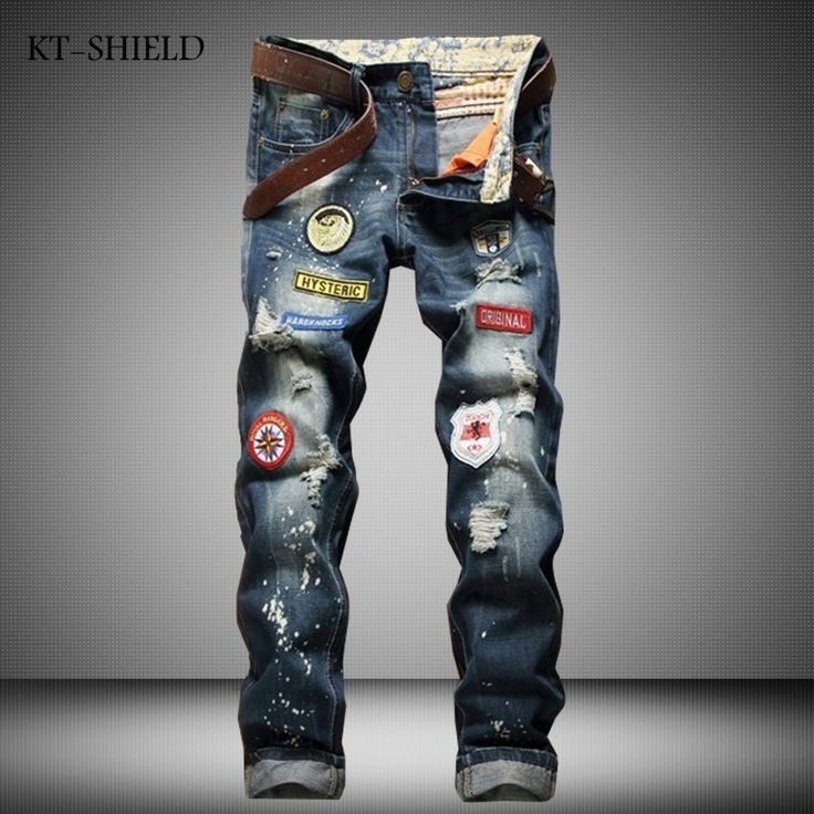 ripped distressed jean hombre slim fit denim overalls fashion mens biker Casual Hip hop long trousers calca jeans masculina