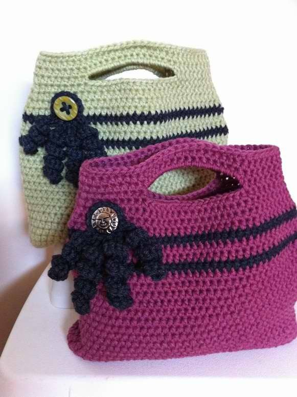 Crochet Designs For Bags : Crochet Handbag Pattern - Easy Peasy Tote Bag Crochet Pattern No.506