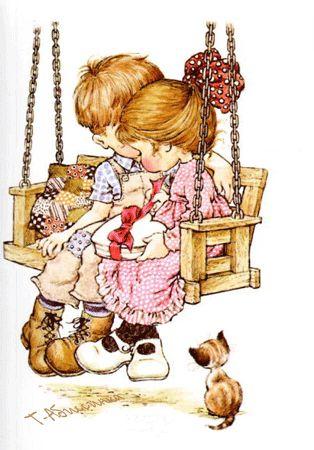 Мальчик с девочкой на качелях - анимационные картинки и gif открытки